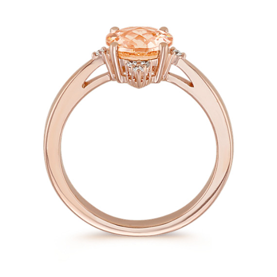 Pink Morganite and Diamond Ring in 14k Rose Gold image