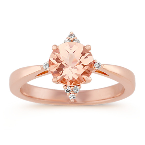 Pink Morganite and Diamond Ring in 14k Rose Gold