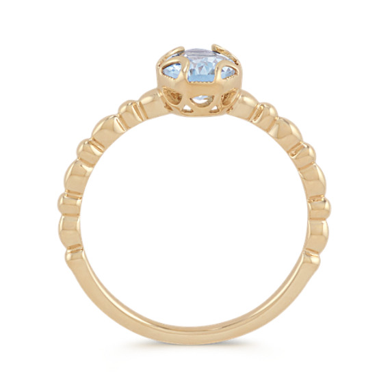 Vintage Oval Aquamarine 14k Yellow Gold Ring image