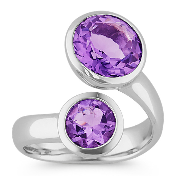 Round Purple Amethyst Ring in Sterling Silver