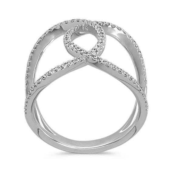 Pavé-Set Diamond Ring in 14k White Gold image