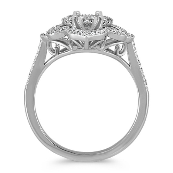 Vintage Oval Halo Ring in 14k White Gold image