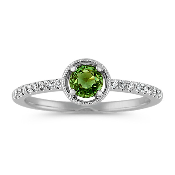 Vintage Green Sapphire and Diamond Ring