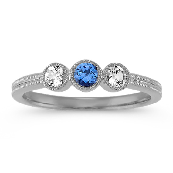 Kentucky Blue and White Sapphire Ring