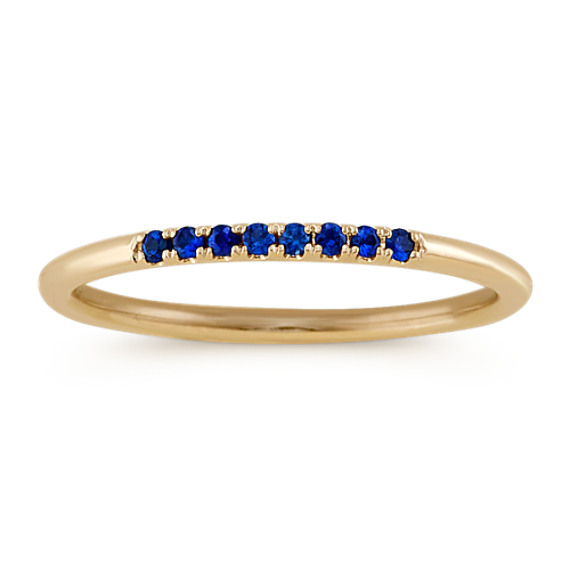 Round Traditional Blue Sapphire Stackable Ring