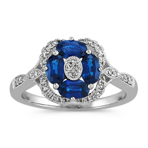 Vintage Oval Traditional Sapphire and Diamond Ring