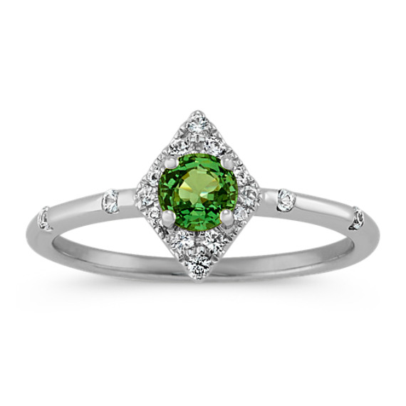 White and Green Sapphire Ring in Sterling Silver