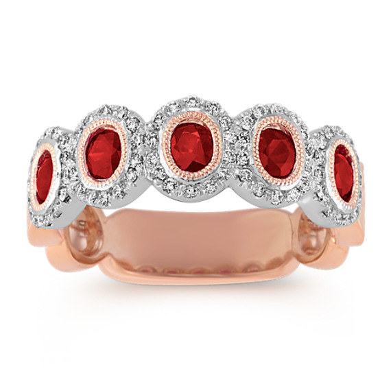 Ruby and Diamond Wedding Band in Two-Tone Gold