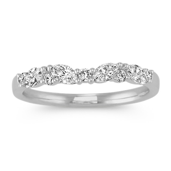 Classic Round and Marquise Diamond Wedding Band