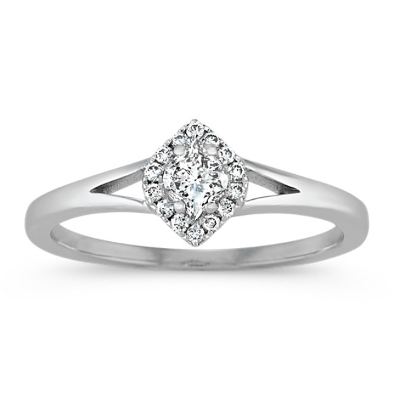 Calla-Cut and Round Diamond Ring in 14k White Gold