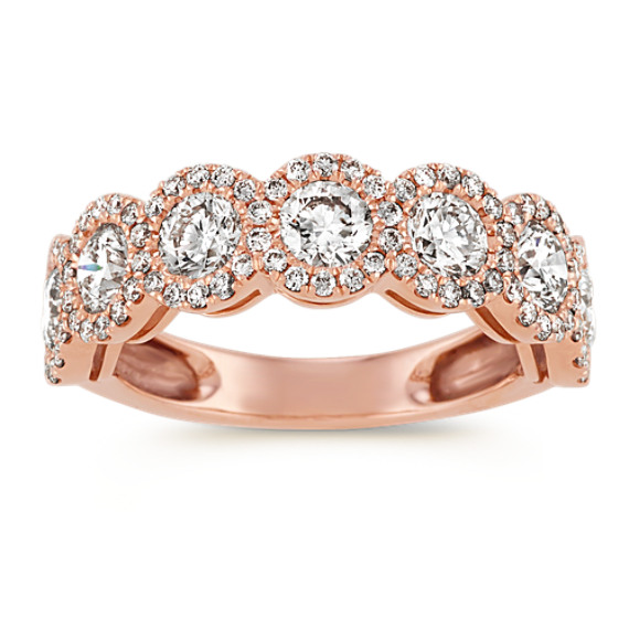 Halo Diamond Wedding Band in 14k Rose Gold