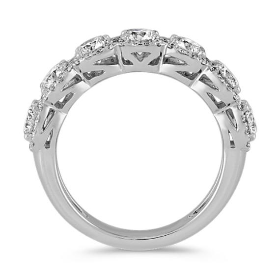 Halo Diamond Wedding Band in 14k White Gold image