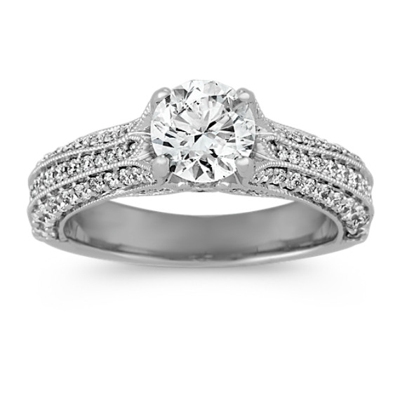 Pave-Set Diamond Engagement Ring