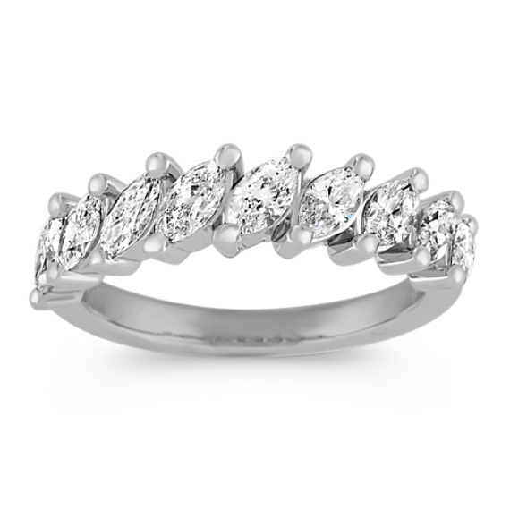 Marquise Diamond Wedding Band in 14k White Gold