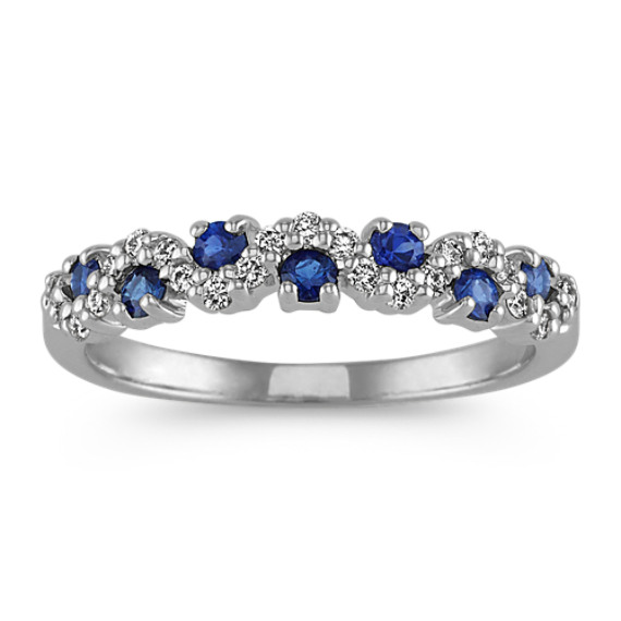 Traditional Blue Sapphire and Diamond Wedding Band