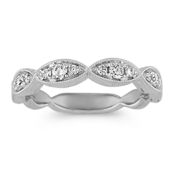 Vintage Diamond Wedding Band in 14k White Gold
