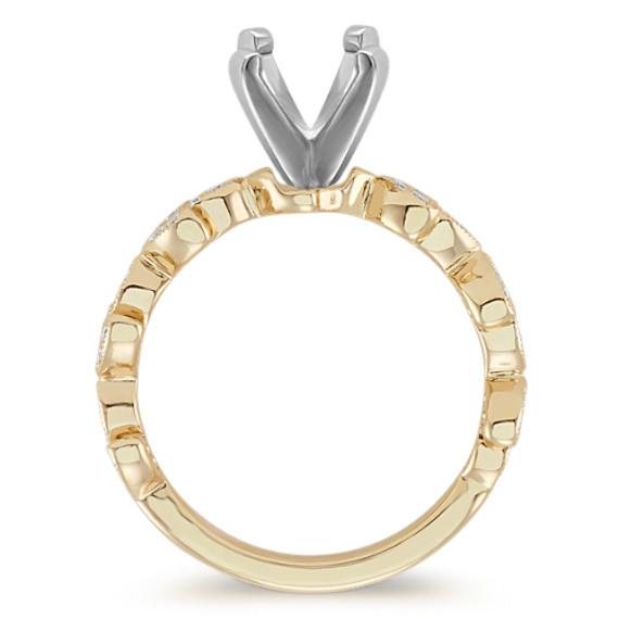 Vintage Leaf Round Diamond Engagement Ring image