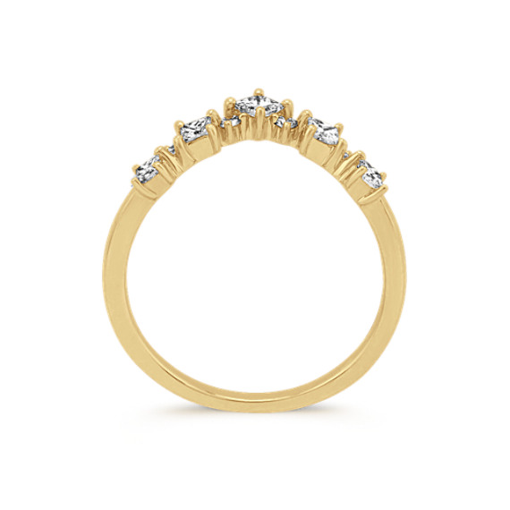 Princess Cut & Round Diamond V Ring in Yellow Gold image