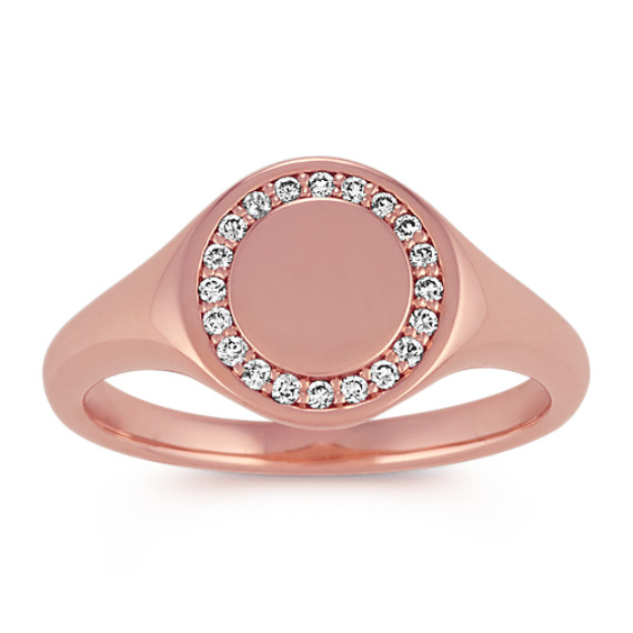 Diamond Engravable Signet Ring in 14k Rose Gold