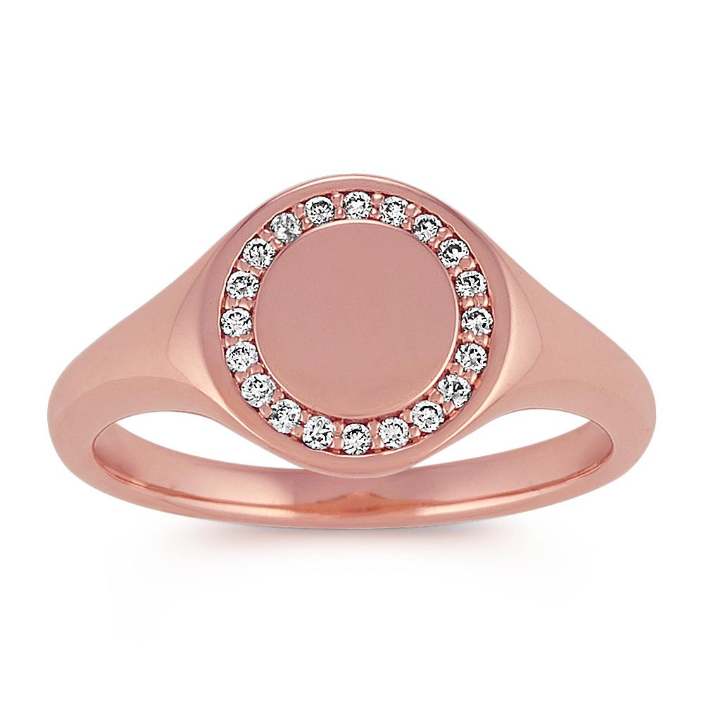 Diamond Engravable Signet Ring in 14k Rose Gold | Shane Co.