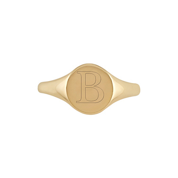 Engravable Signet Ring in 14k Yellow Gold