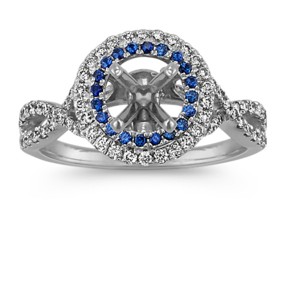 Traditional Sapphire and Diamond Halo Infinity Engagement Ring