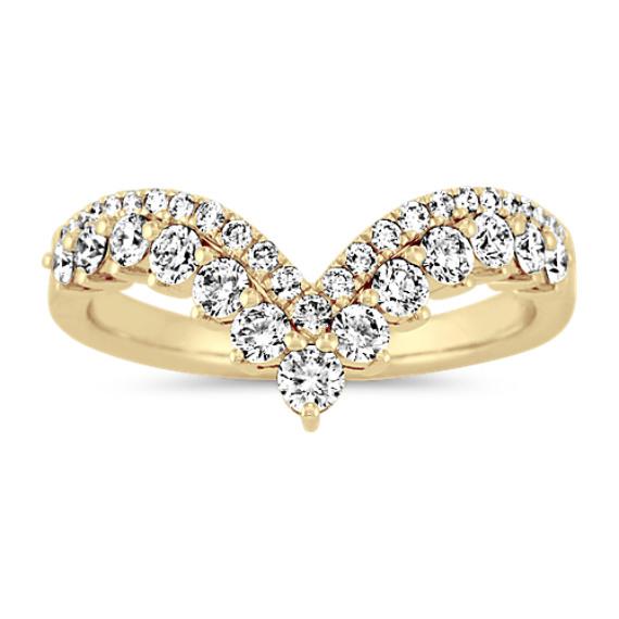 Diamond V Wedding Band