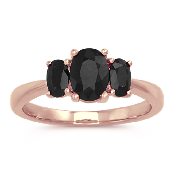 Oval Shaped Black Sapphire Ring in 14k Rose Gold