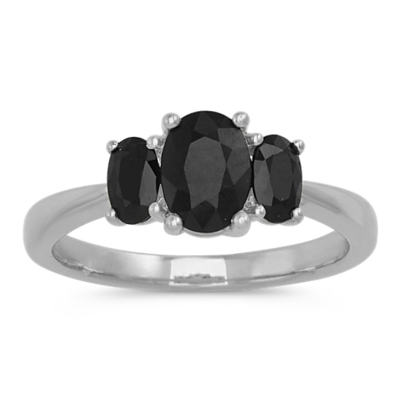 Oval Black Sapphire Ring in 14k White Gold