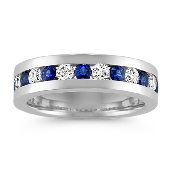 Channel-Set Sapphire and Diamond Mens Band