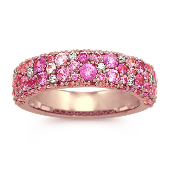Mosaic Pink Sapphire & Diamond Ring (4mm)