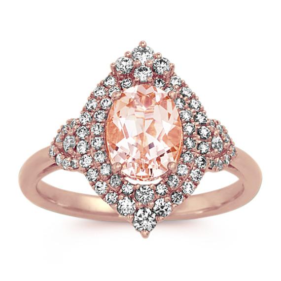 Halo Morganite and Diamond Ring