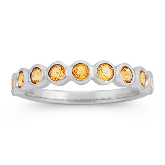 Bezel-Set Citrine Ring in 14k White Gold