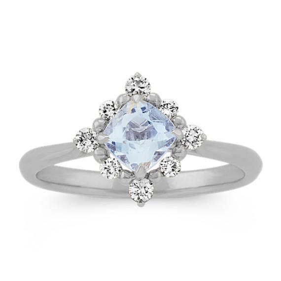 Aquamarine Diamond Ring in 14k White Gold