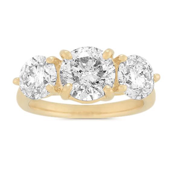 Diamond Three-Stone Ring in 14k Yellow Gold