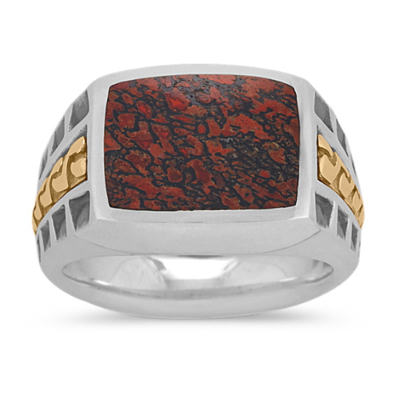 Red Dinosaur Bone Mens Ring in Sterling Silver and 14k Yellow Gold