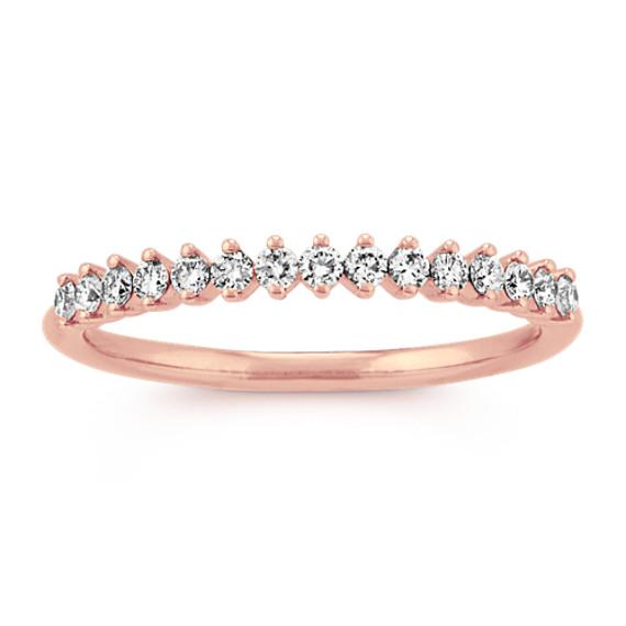 Regal-Set Diamond Wedding Band in 14k Rose Gold