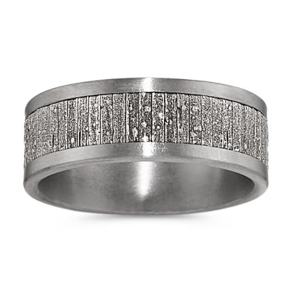 Modern Black Tantalum and 14k White Gold Mens Ring (8mm)