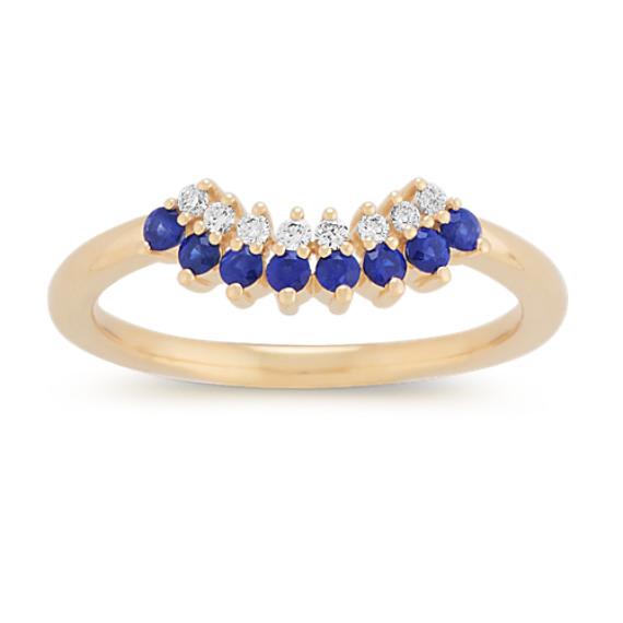 Contour Traditional Blue Sapphire and Diamond Wedding Band