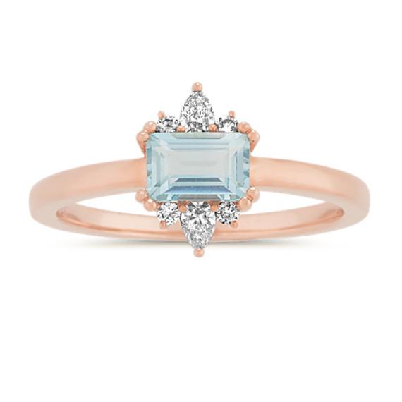 Blue Sky Topaz and Diamond Ring in 14k Rose Gold