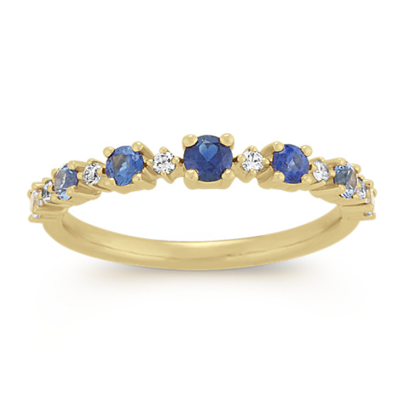 Multi Colored Blue Sapphire and Diamond Ring
