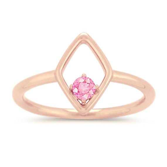 Rhombus Ring for 3mm Gemstone in 14k Rose Gold