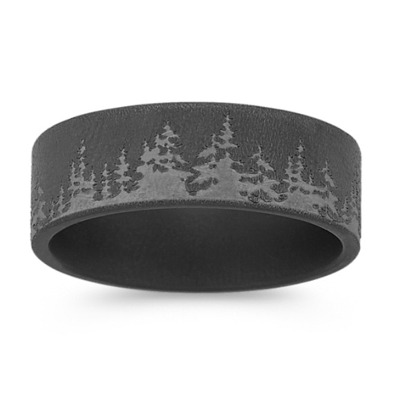 Engraved Tree Line Mens Band (8mm)