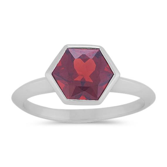 Hexagon Garnet Ring in Sterling Silver