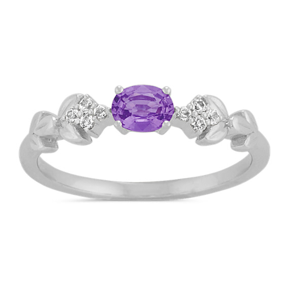 Lavender and Round White Sapphire Ring