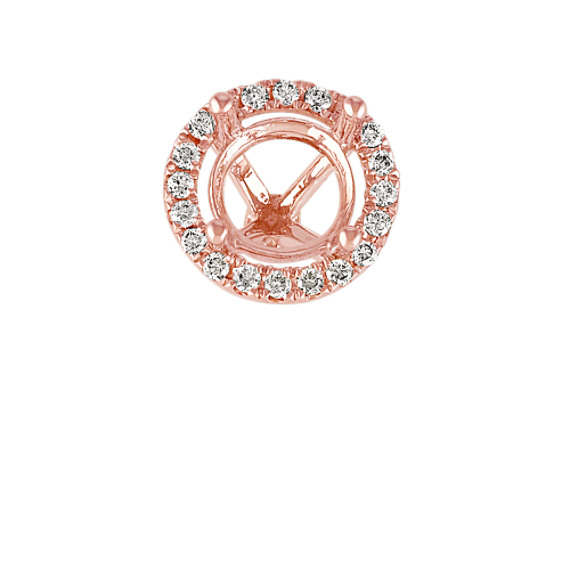 14k Rose Gold Diamond Halo Head to Hold 1 ct. Round Stone