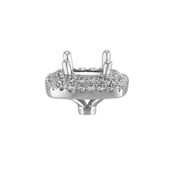 Diamond Double Halo Head in White Gold to Hold 1.00 Carat Cushion Cut Stone image
