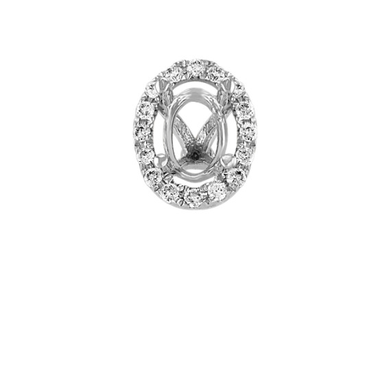 Diamond Halo Decorative Crown in White Gold to Hold .75 ct. Oval Stone
