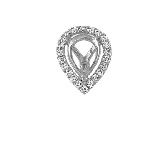 Diamond Halo Decorative Crown to Hold 0.75 Carat Pear-Shaped Stone