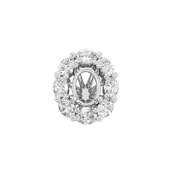 Diamond Halo Decorative Crown for 1.00 ct. Oval Cut Stone